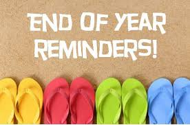 Middle School End of Year Reminders